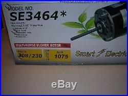 1/2-1/6 HP-Furnace Blower Motor-208/230V-1075 RPM-Reversible-4 Sp. Smart Elec