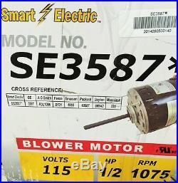1/2 HP Furnace Blower Motor 3587 -115V-1075 RPM-Reversible-9.1Amp Smart NEW