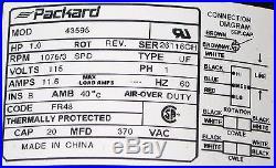 3 Speed Furnace Blower Fan Motor Packard 43595 1 HP 1075 RPM 115 Volt 48 Frame
