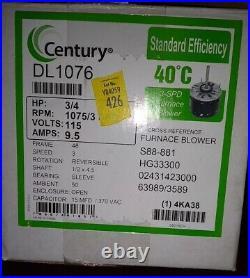 Century DL 1076 Furnace Blower Motor, HP 3/4 RPM 1075/3 SPD Volts 115. New