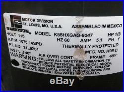 EMERSON K55HXGAG-8047 Furnace Blower Motor 1/3HP 1075RPM 4SPD 115V 1PH 21L9201