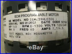 GE ECM Programmable Furnace Blower Motor 1/2 HP Model Nbr 5SME39HL0306